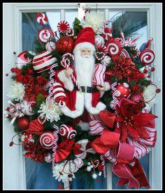Custom Designed Santa Christmas Wreath by petalpusherswreaths, $169.95