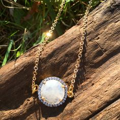 Moonstone pave necklace.  Beautiful Rainbow Moonstone gemstone and CZ pave. Sterling Silver or Gold Plated Sterling Silver setting. Approximately
