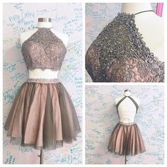 Cute Homecoming Dress,Two Pieces Homecoming Dresses,Sleeveless Homecoming Dress,Appliques Prom Dress,Charming Mini Prom Dresses,PD00133
