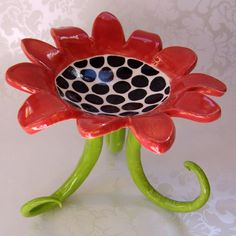 black & white red ceramic dish w/ tall curly legs by maryjudy