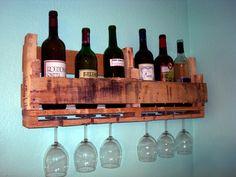 Recycled pallet board wine shelf.