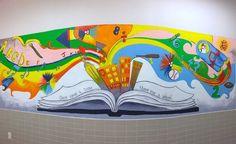 Mural for kids Kids Wall Murals, Murals For Kids, Mural Wall Art, Mural Painting, Art For Kids, Wall Decals, School Murals, Art School, School Hallways