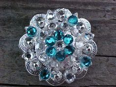 Silver Berry Concho with Teal and Clear Swarovski Crystals-Bling-
