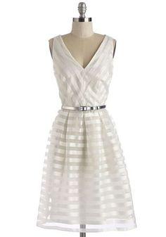 a-line white striped dress