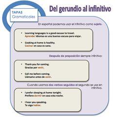 Del gerundio al infinitivo Learn Spanish / Spanish vocabulary / Spanish grammar