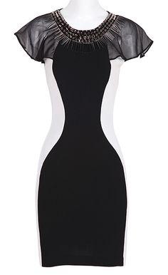 Black Short Sleeve Rivet Zipper Bodycon Dress