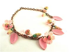Fringe Flower Necklace Vintage Celluloid Jewelry by kiamichi7, $58.00