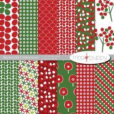 Moo & Puppy - Brewster Christmas Digital Scrapbook Paper Pack