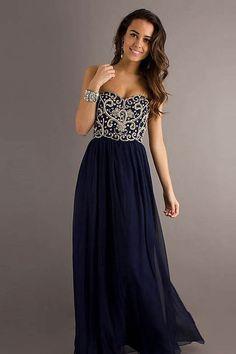 Dark Navy Floor-Length Sweetheart Chiffon Zipper Evening Dress