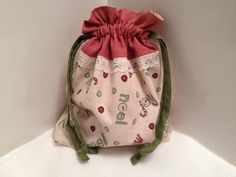 Lined Drawstring Bag, Large Pouch, Christmas, Patchwork, Gift Bag, Country Chic, Reusable, Noel, Holiday Reticule