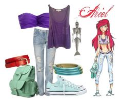 """Ariel High School"" by ravencraftwriter ❤ liked on Polyvore featuring Disney, J.Crew, Forever 21, Converse, Oasis, Alexis Bittar, boyfriend jeans, backpacks, wood bangles and the little mermaid"