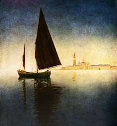 """Venice twilight"", by  Maxfield Parrish"