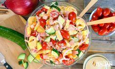 Salade hawaïenne avec du jambon cru miam miam!  Hawaiian salad recipe