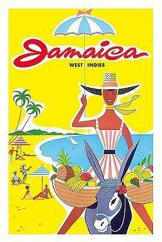 jamaica,west indies,caribbean,jamaican,donkey,vintage world travel poster,beach,tropical,vintage travel poster,retro,poster art,vintage advertising,vintage travel,