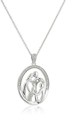 "Sterling Silver and Diamond Parents with Two Children Family Pendant Necklace (1/10 cttw, I-J Color, I2-I3 Clarity),18"" - Jewelry For Her"