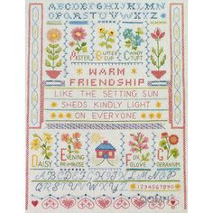 WARM FRIENDSHIP SAMPLER Stamped Cross Stitch Kit Red Farm Studio Linen Fabric by NeedleLittleTherapy on Etsy Cross Stitch Kits, Linen Fabric, Needlework, Friendship, Bullet Journal, Stamp, Warm, Studio, Red