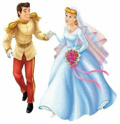 Cinderella and Prince Charming getting married on their Wedding Day Disney Bride, Disney Couples, Disney Girls, Cinderella And Prince Charming, Disney Princess Cinderella, Disney Dream, Disney Fun, Princess Illustration, Disney Illustration