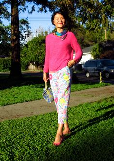 pink and flower pants