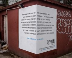 """An interesting poster campaign for homeless charity DePaul UK has just gone up on several street corners in London. The clever use of each site invites passersby to consider that there is """"another side to the story"""" in terms of volunteering shelter for young people sleeping rough…"""