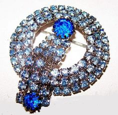 Blue Rhinestone Brooch Pin Sapphire & Baby by BrightgemsTreasures