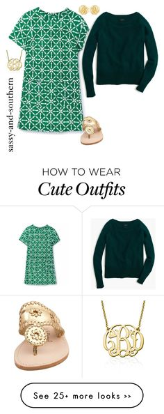 """""""cute outfit"""" by sassy-and-southern on Polyvore featuring Boden, J.Crew, Jack Rogers, Susan Shaw and My Name Necklace"""