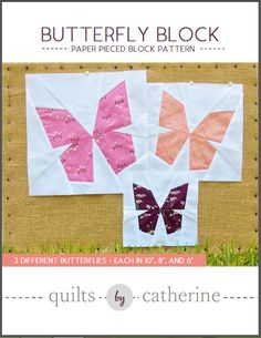 This listing is for a PDF file of the Butterfly Block Paper Pieced pattern. Two…