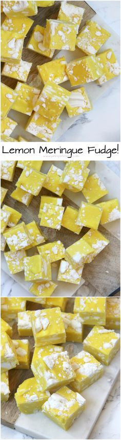 ❤️ Easy Condensed Milk Lemon Fudge with Crunchy & Swee… Lemon Meringue Fudge! ❤️ Easy Condensed Milk Lemon Fudge with Crunchy & Sweet Meringue pieces! Fudge Recipes, Candy Recipes, Sweet Recipes, Baking Recipes, Dessert Recipes, Lemon Fudge Recipe, Homemade Food Gifts, Homemade Sweets, Diy Food