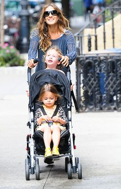 Sarah Jessica Parker -- she and Matthew Broderick are planning to move from Manhattan's West Village to Brooklyn -- pushed her twins Tabitha and Marion in a stroller in NYC Sept. 18.    Read more: http://www.usmagazine.com/hot-pics/moving-to-brooklyn-2012199#ixzz279d1StME