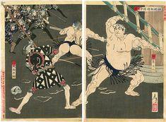 芳年「新撰東錦絵 神明相撲闘争之図」。古書の街・東京神田神保町にて、浮世絵から新版画、創作版画、現代版画までの版画作品の販売中心に、肉筆画(油彩・水彩)、書、彫刻、陶芸等の美術品及び美術書を幅広く取り扱っております。美術品・古書の買取も随時承ります。