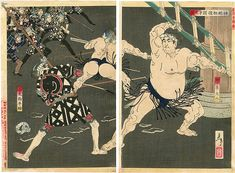 Tsukioka Yoshitoshi: New Selections of Eastern Brocade Pictures - Sumo Wrestlers vs. Edo Period Japan, Meiji Restoration, Sumo Wrestler, Fantasy Miniatures, Japanese Painting, Japanese Prints, Japan Art, Woodblock Print, Firefighter