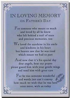 In memory of Dad on Father's Day