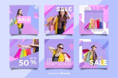 Memphis instagram post collection template Free Vector Memphis, Vector Free, Banner, Templates, Instagram Posts, Pride, Cards, Quote, Collection