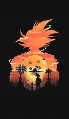 Dragonball Z Goku silhouette outlining the horizon with the 4 Star dragonball. Dragonball Z Goku silhouette outlining the horizon with the 4 Star dragonball. Dragon Ball Gt, Chibi, Wallpaper Do Goku, Dragonball Wallpaper, Mobile Wallpaper, Koch Tattoo, Dragonball Anime, Super Saiyan, Goku Super