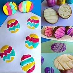 Great Idea To Use Potato As #Easter #Egg Stamping #easyeastercrafts #diyeastercraft