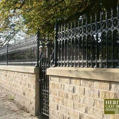 Stewart Cast Iron Fencing - Limited Stock on Full Height Railing and Half Height Railing. Entrance Gates, House Entrance, Victorian Fencing And Gates, Types Of Dreams, Cast Iron Fence, Gate Post, Front Fence, Fences, Yard Fencing
