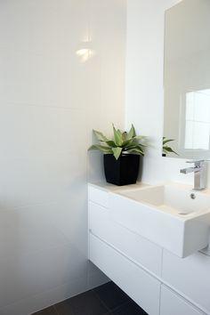 Dark floors, white walls and cabinetry. Master Bath Shower, Steam Showers Bathroom, Laundry In Bathroom, Bathroom Renos, Washroom, Circus Room, Beaumont Tiles, Under Cabinet, Bathroom Inspiration