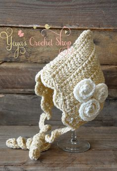 Cream Crochet Bonnet,  Baby Accessories, Newborn Size, Infant Girl Bonnet , Baby Girl Bonnet on Etsy, $25.00