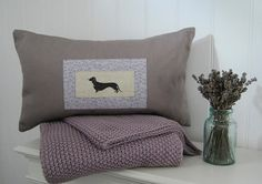 Hand Made Appliqué Daschund Bolster Cushion in by HillyHortonHome