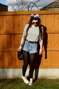 Sam wearing a pair of vintage shorts over at http://www.sjmwell.blogspot.co.uk  Check out more at http://www.bragvintage.co.uk  #bragvintage #denimshorts #cutoffs #levis