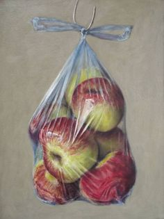 "Painting, ""Windfall Apples in a Plastic Bag (repainting - not for sale at Saatchi Art Artist Andy Swani; Painting, ""Windfall Apples in a Plastic Bag (repainting - not for sale at present)"" Tee Kunst, Plastic Art, Painting Plastic, Plastic Bottle, Art Alevel, Gcse Art Sketchbook, Drawing Bag, Fruit Painting, Food Art Painting"