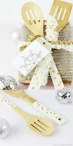 DIY Baker's Gift Idea. Create these beautiful gold dots on utensils for the perfect gift!