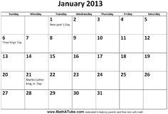 Free printable january 2013 monthly calendars with holidays. January 2013 Calendar, Blank Monthly Calendar, Thursday Friday, Printables, September Calendar, Print Templates