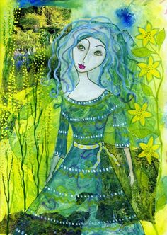 At One With Nature, mixed media on paper, by Jessica Stride