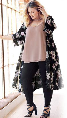 Plus Size Winter Kimono Outfit - Plus Size Fashion for Ladies . - Plus Size Winter Kimono Outfit – Plus Size Fashion for Women – large si - Xl Mode, Mode Plus, Curvy Outfits, Mode Outfits, Fashion Outfits, Fashion Ideas, Casual Plus Size Outfits, Womens Fashion, Trendy Fashion