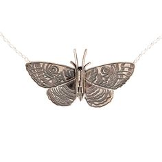 Pūrere Parangunu engraved on back. Jewellery Nz, Sterling Silver Necklaces, Moth, Peacock, Handmade Jewelry, Gifts, Beautiful, Butterflies, Insects
