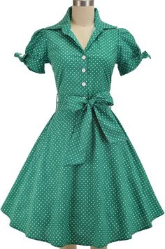 50s style, pinup, day dress, shirt dress, vintage, clothing, women, pin up, fashion, Pinup Style, Rockabilly, Retro Clothing, Reproductions, retro, pinup, green polka dot