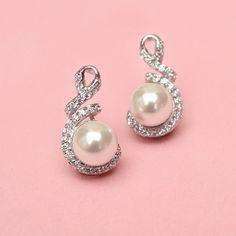 LOVE Sweetheart Pearl Earrings - Kate Ketzal - Beautiful Wedding Jewelry & Adornments