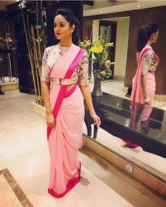 buy online Baby pink colour designer heavy party wear fancy fabric saree with banglori designer blouse at joshindia Saree Jacket Designs, Saree Blouse Neck Designs, Fancy Blouse Designs, Bridal Blouse Designs, Choli Designs, Stylish Blouse Design, Saree Trends, Designer Blouse Patterns, Stylish Sarees