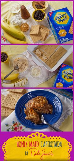 This quick and tasty version of traditional capirotada uses bananas, raisins, peanut butter and whole grain HONEY MAID graham crackers instead of bread. Bring out the sabor Mexicano with canela, cotija cheese and piloncillo! Queso Cotija, Cotija Cheese, Honey Maid Graham Crackers, Mexican Food Recipes, Ethnic Recipes, Raisin, Holiday Recipes, Peanut Butter, Delish