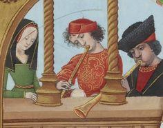 BNF FR 143, fol. 65v – Musicians Evrart de Conty , Le livre des échecs amoureux moralisés Source: gallica.bnf.fr